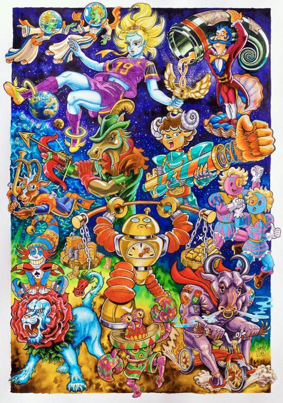 Dessin à l'aquarelle très coloré rempli de personnages jovials inspirés du zodiaque dans un style manga et bande dessinée