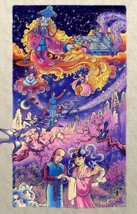 Aquarelle illustrant l'histoire d'amour entre un jeune paysan et une déesse dans la Chine mythologique