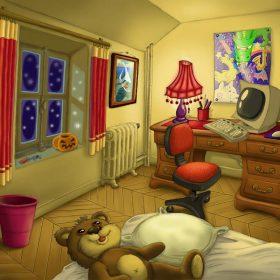 Une chambre mansardée la nuit avec un lit et un bureau