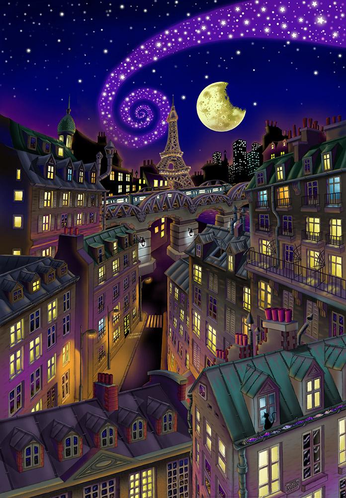 Vue de Paris la nuit, immeubles aux fenêtres allumées, Tour Eiffel en arrière-plan, la Lune dans le ciel étoilé et la Voie Lactée qui part en spirale