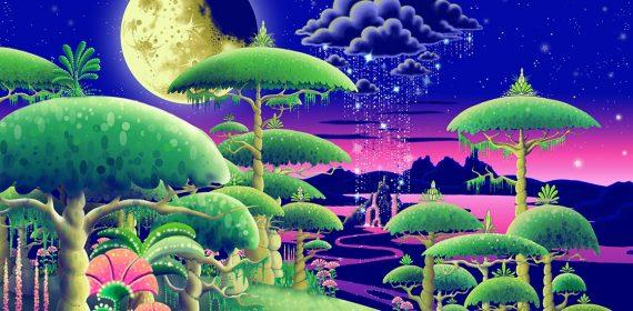 Des arbres verts en forme de parapluie, au fond une vallée de nuit surplombée par un gros nuage d'où tombe une colonne de pluie