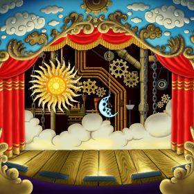 Scène de Théâtre baroque, une machinerie et des engrenages en arrière-plan