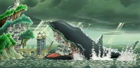 À gauche, une ville sur une falaise en forme de vague déferlante, en face, l'océan verdoyant d'où émerge une baleine à bosse qui en ouvrant la bouche révèle une autre ville dans ses fanons