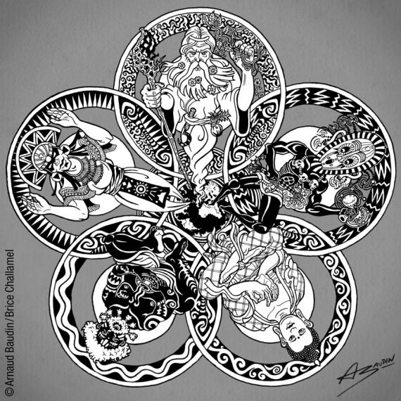 Cing figures de sages issues des cinq continents formant une sorte de mandala autour de la Terre