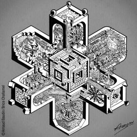 Structure d'irrigation à l'architecture impossible, inspirée d'Escher, où des roues à aubes distillent différemment leurs eaux à trois sortes de terrains