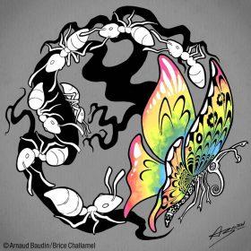 Au milieu d'une file de fourmis, un papillon aux ailes de couleurs arc-en-ciel (alors que toutes les illustrations de cette série sont en noir et blanc)