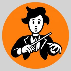 Illustration stylisée d'un chef d'orchestre dubitatif qui abaisse les mains