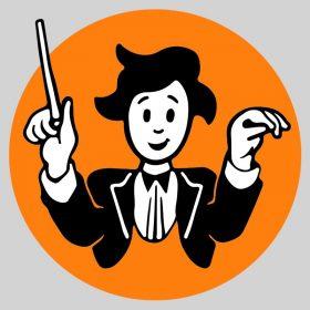 Illustration stylisée d'un chef d'orchestre satisfait qui remonte les mains