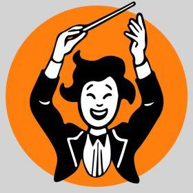Illustration stylisée d'un chef d'orchestre ravi qui lève les bras au ciel