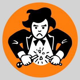 Illustration stylisée d'un chef d'orchestre exaspéré qui casse sa baguette