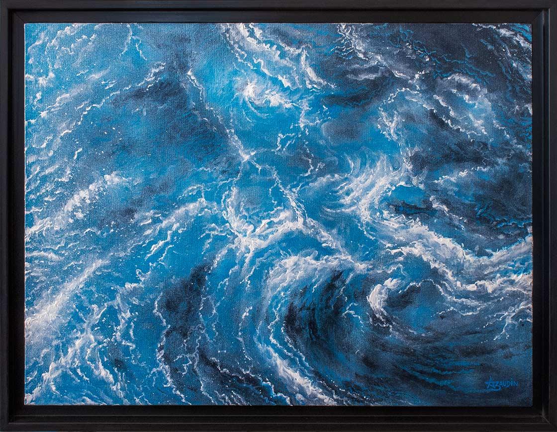 Peinture en camaïeu bleu, semi figurative, semi abstraite, d'un océan tempétueux vu du ciel