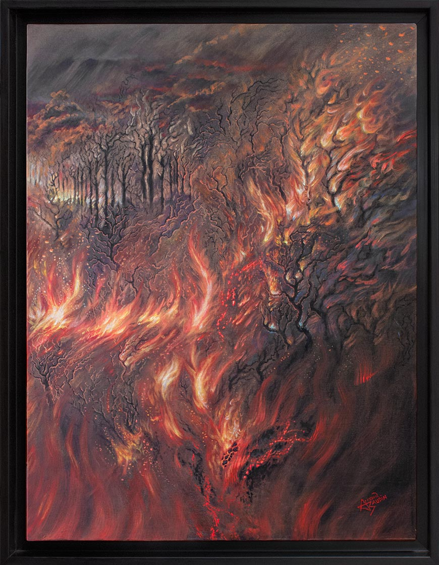 Peinture en camaïeu rouge et or, semi figurative, semi abstraite, d'un feu de forêt