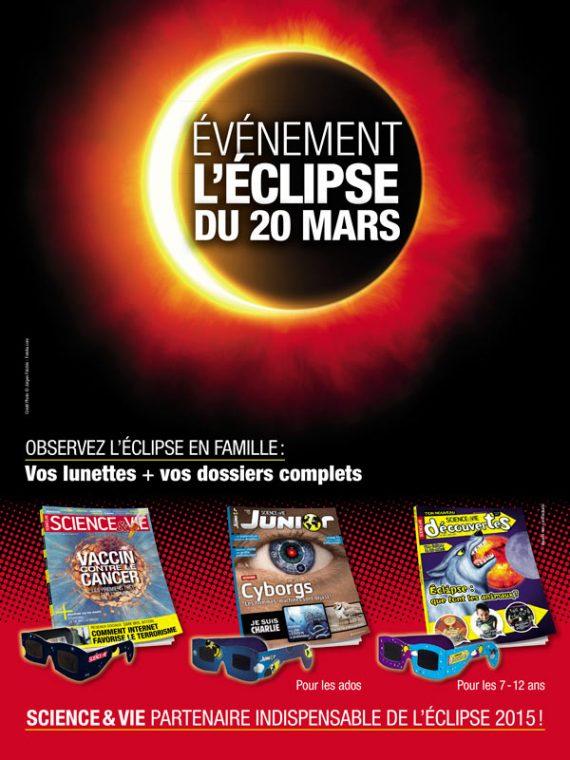 Annonce presse signalant l'éclipse solaire de 2015 et les lunettes spéciales vendues avec les trois magazines Science & Vie pour tous les âges