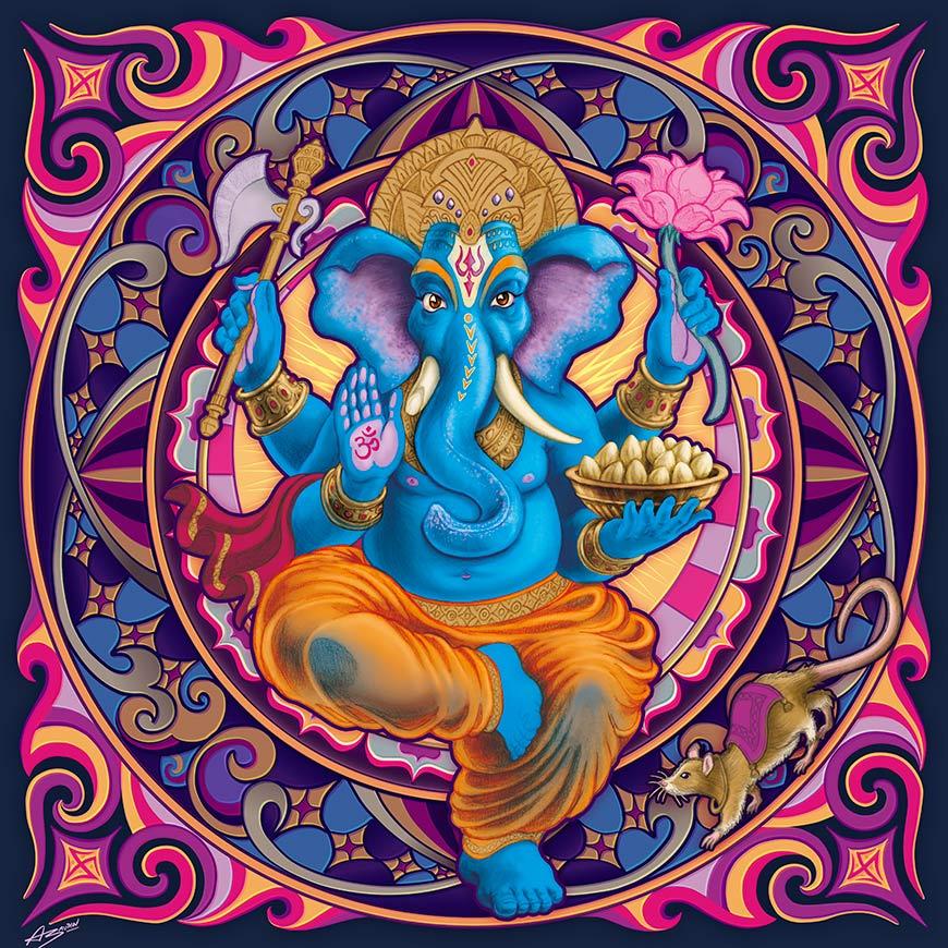 Ganesh, le Dieu indien à tête d'éléphant, au centre d'une rosace