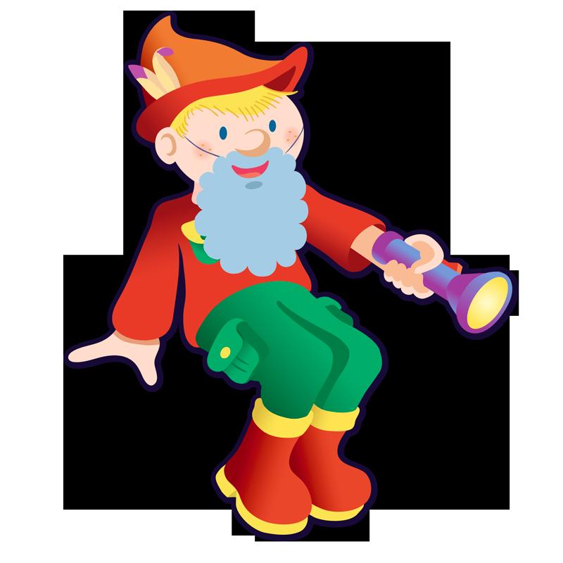 Illustration d'un petit garçon habillé en lutin avec une lampe torche