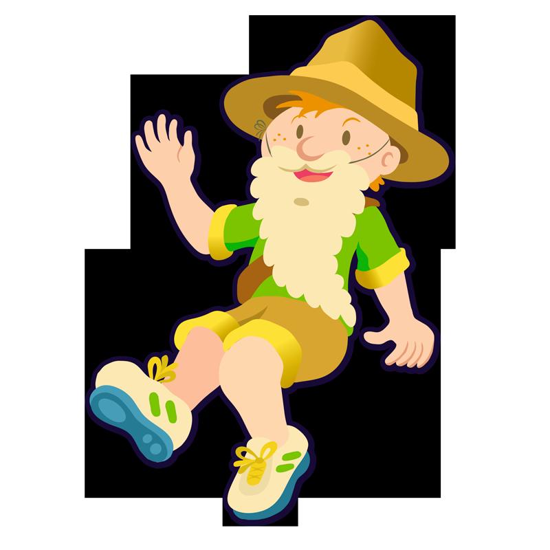 Illustration d'un petit garçon habillé en lutin avec un chapeau d'explorateur