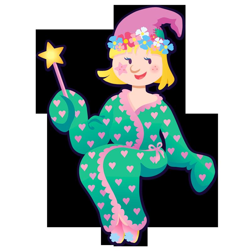 Illustration d'une petite fille habillée en lutin avec un peignoir de bain