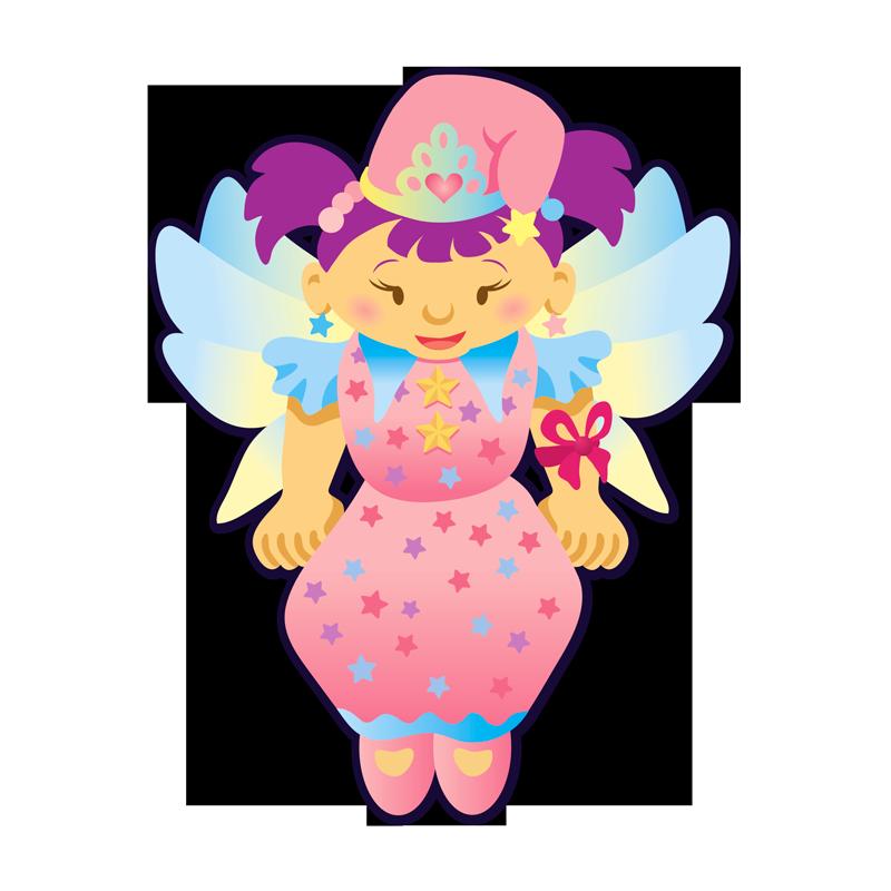 Illustration d'une petite fille habillée en lutin avec des ailes de fée