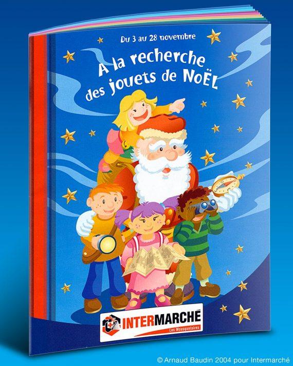 Catalogue des jouets de Noël Intermarché illustré par le Père Noël et quatre enfants en quête de trésors