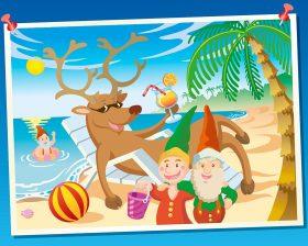 Illustration d'une photo de vacances des lutins qui fabriquent les jouets de Noël - ils sont partis à la plage avec les rennes