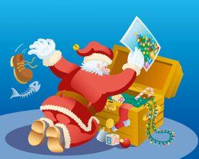 Le Père Noël fouillant dans son coffre pour trouver des indices sur la piste des jouets disparus