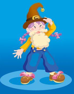 Illustration d'une petite fille déguisée en lutin pour aider le Père Noël à retrouver les jouets des enfants
