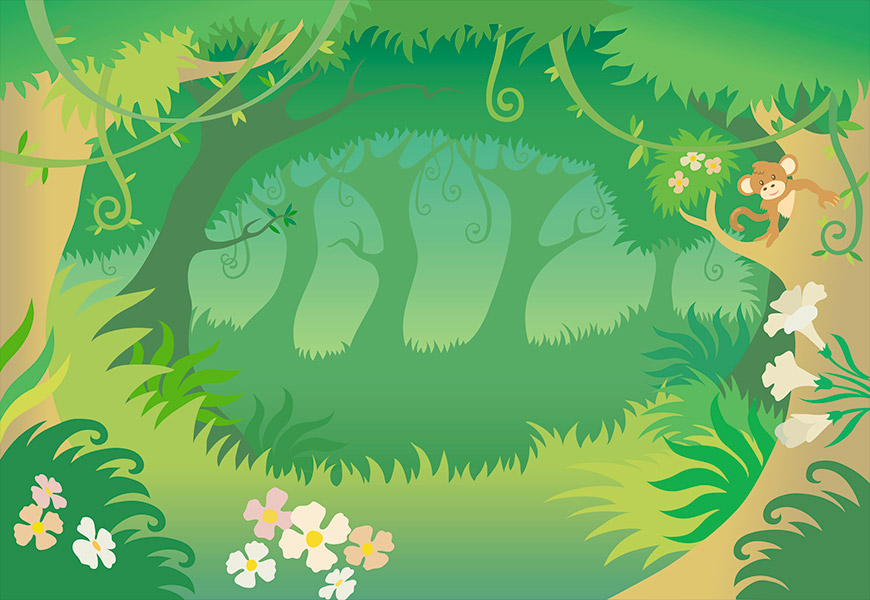 Dessin vectoriel d'une forêt touffue et fleurie avec un singe dans un arbre