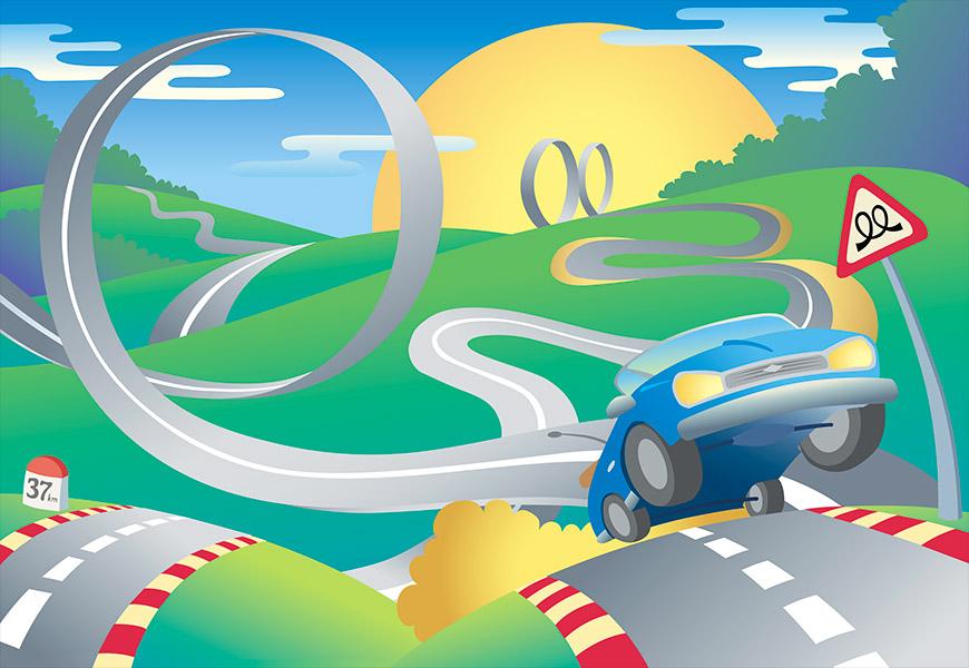 Dessin vectoriel d'un circuit de course avec des loopings, une décapotable se cabre sur la route