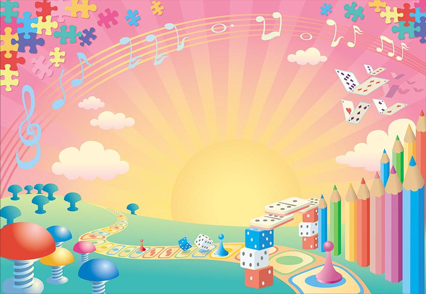 Un monde imaginaire composé d'éléments de jeux de société, cartes à jouer, notes de musiques et crayons de couleurs