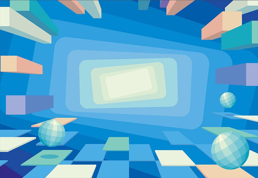 Un espace irréel composé de blocs géométriques en lévitation
