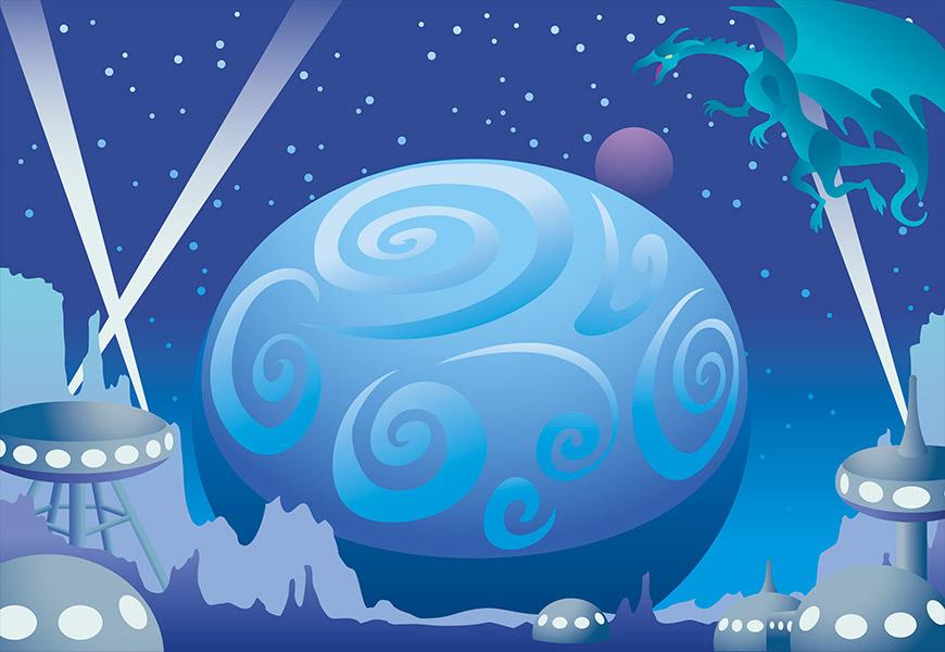 Vue d'une planète extraterrestre avec une station spatiale attaquée par un dragon