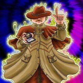 Le Chef a toujours raison ! Il apparait ici dans son costume de shérif auréolé de lumière