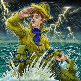 Un matelot usé par son voyage en mer erre en pleine tempête