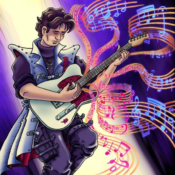 Un rockeur mélancolique joue de la guitare d'où s'envolent des volutes de portées musicales