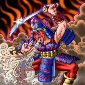 Un guerrier samouraï au visage écarlate souffle un épais nuage de fumée au milieu du brasier