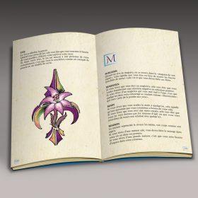Livre sur les rêves, ouverture sur les pages intérieures, mise en page de type dictionnaire et illustration d'un Lys
