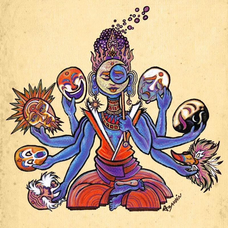 Illustration d'une divinité bleue, de style hindou, à huit bras tenant chacun un masque différent