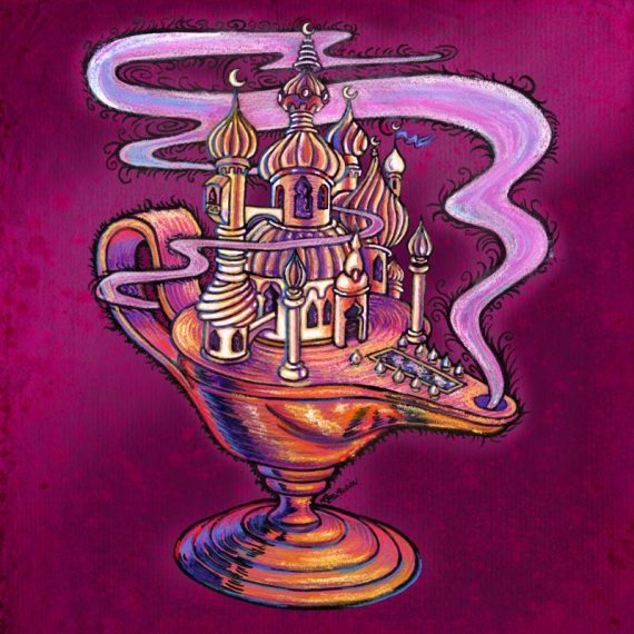 Illustration d'une lampe à huile dont le dessus est un palais des mille-et-une nuits
