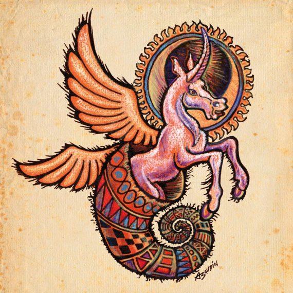 Illustration d'une Licorne ailée qui surgit d'une corne d'abondance