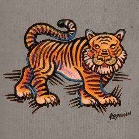 Illustration aux crayons et pastels d'un tigre stylisé, vu de profil
