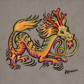 Illustration aux crayons et pastels d'un dragon de style chinois