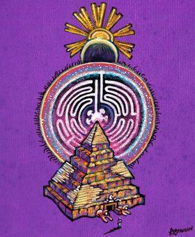 Illustration d'une pyramide surmontée d'un labyrinthe circulaire, de la Lune et du Soleil alignés. Fond violet