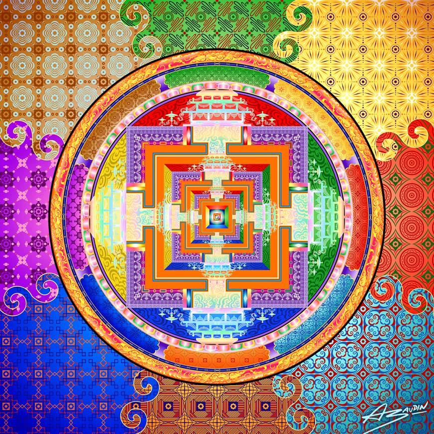 Composition graphique et géométrique colorée directement inspirée du mandala de Kalachakra - Un palais carré à étages dans des cercles concentriques