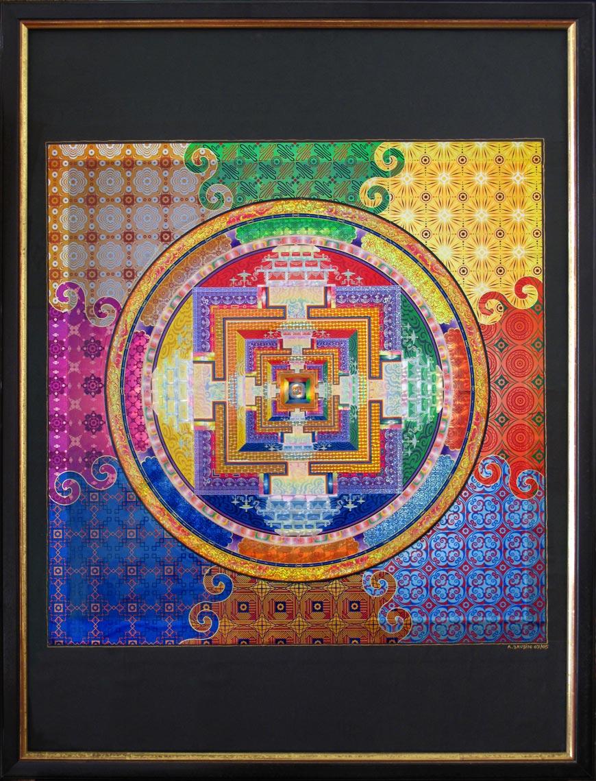 Collage avec zones brillantes irisées représentant un mandala, une composition de cercles et de carrés concentriques colorés