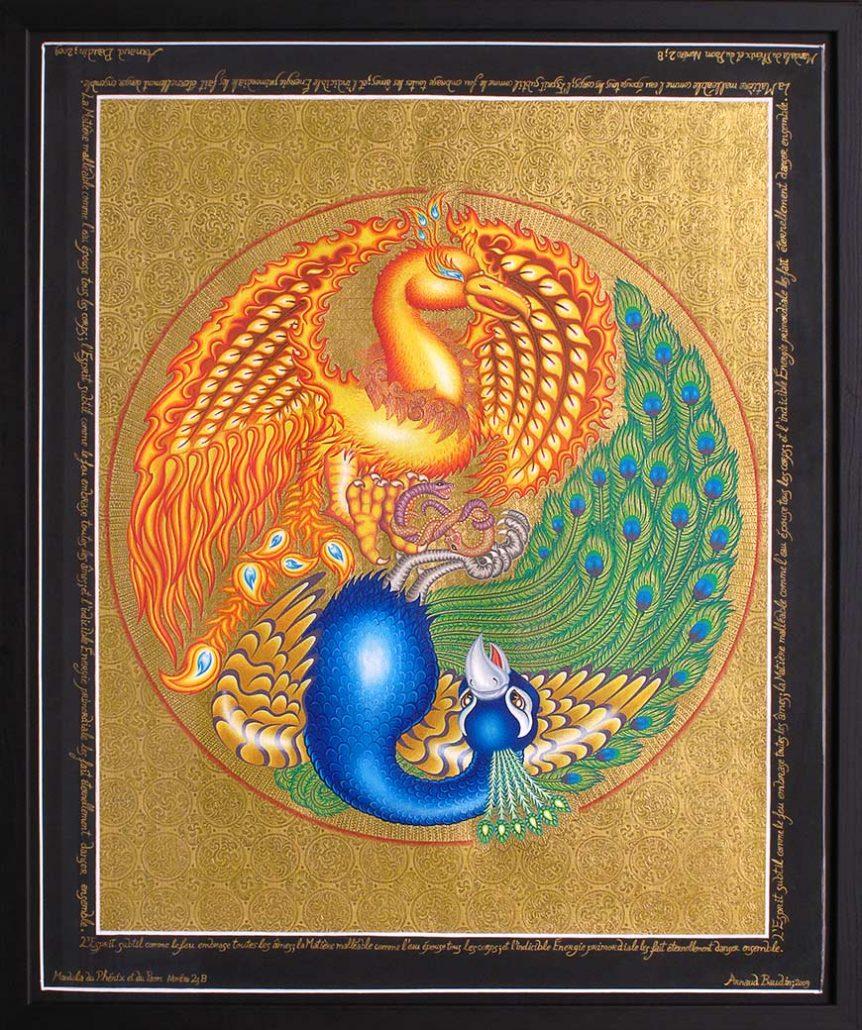 Peinture d'un phénix et d'un paon se faisant face dans un cercle entouré d'or gravé de motifs
