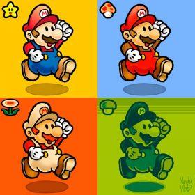 Quelques couleurs de Mario déclinées dans un tableau à quatres cases