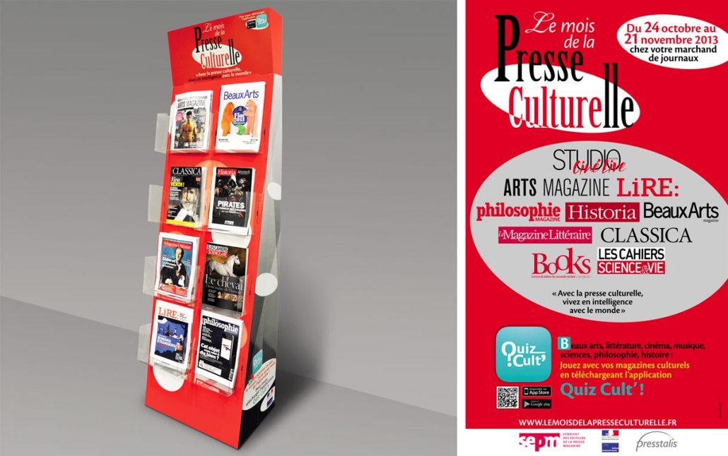 Photos de l'identité visuelle 2013 de la Presse Culturelle - Spots sur fond rouge