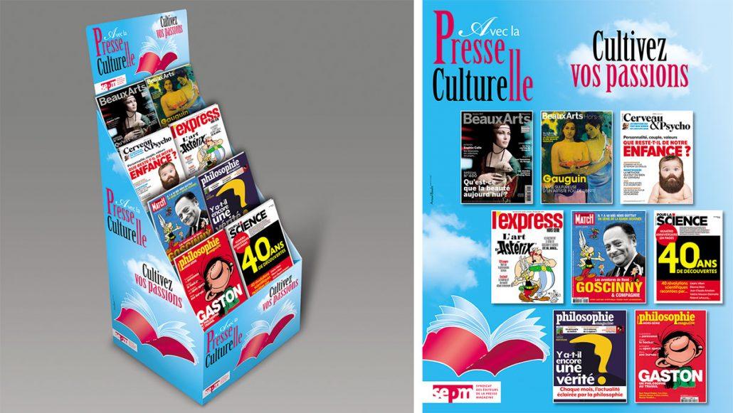 Photos de l'identité visuelle 2017 de la Presse Culturelle - Magazine volant et nuages