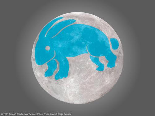 Aide visuelle à voir la forme d'un lapin dans les taches lunaires