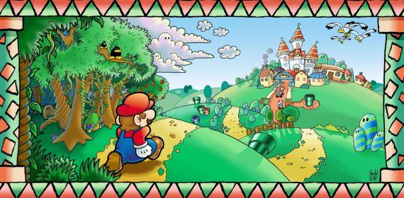 Un paysage verdoyant du royaume Champignon où Mario court vers la ville